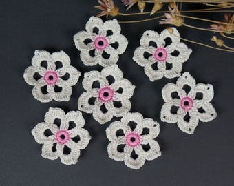 Crochet flower, Knitted flower, 7 pcs, Flower application, Crochet flower motif, Scrapbooking flower, Decorate  flower, Cloth accessory.