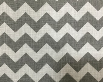 Gray White Chevron Zig Zag Print Poly Cotton Print Fabric - Sold By The Yard -  59""
