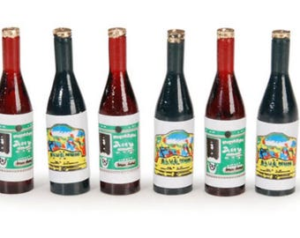 Miniature Dollhouse 6 pack of Assorted Wine Bottles 1:12 Scale