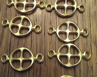 10 Metal Spacer Beads in Brass Tone