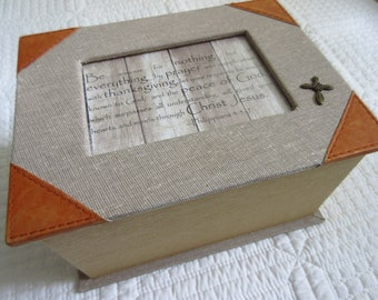 Father's Day Gift for Dad Vintage Linen and Leather Box Cross Men's Valet Box Jewelry Box Philippians 4:5-7 Be Anxious for Nothing