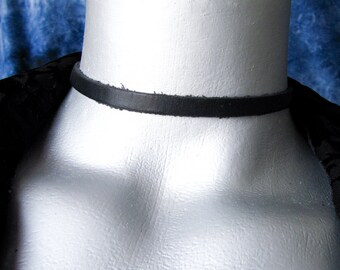 Thin Plain Black Leather Choker - 6mm wide - Adjustable Length