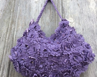 Leather Flower Bag in Lavender Deerskin Leather by Stacy Leigh
