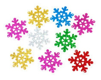 set of 12 glitter star snow multicolor 4X3.5 cm