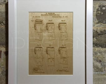 Laser Etched Artwork – Toilet Roll Patent Drawings