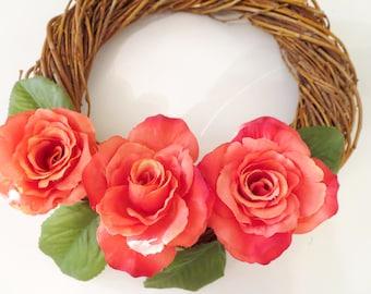 Roses flowers  wreath , Heart wtreth ,Daisies  decoration,White Daisy Wreath, summer Wreath, Front Door Wreath