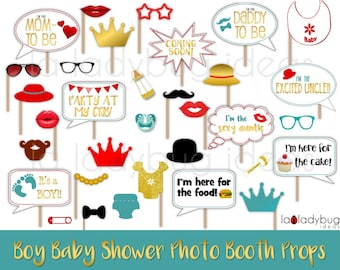 Baby shower selfie station props for Boy. Printable. Red, teal and gold. Photo props picture signs. DIY photo props. Instant download PDF