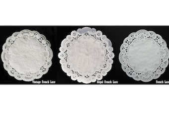 Bulk WHITE FRENCH LACE Paper Doilies, Placemats, Charger, Wedding Invitations, Lacy Doily, White Doily