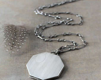 Large Silver Locket Necklace, Art Deco Locket, Antique Locket Sterling Silver Locket, Unique Locket, Long Chain Locket, Octagon Locket