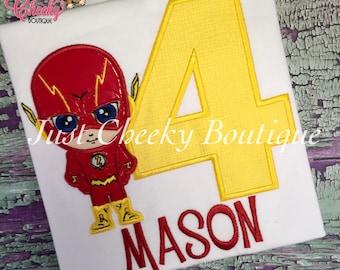The Flash Cutie Embroidered Shirt - DC Comics Inspired - Superhero Birthday Shirt - The Flash Birthday Shirt - Boys Birthday Shirt