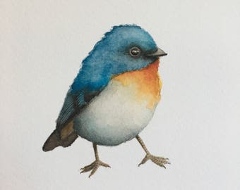 Watercolor Blue Bird Gicleé Print on Watercolor Paper 5 x 7""