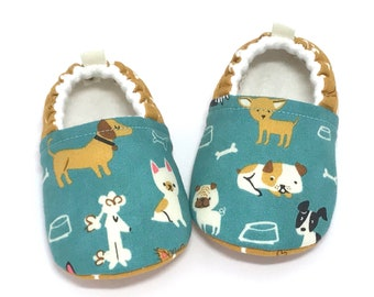 Dog Baby Shoes, Dog lover gift, Baby Shower gift, Soft Sole Baby Shoes, Aqua Baby Booties, Toddler slippers, baby moccasins, vegan baby