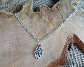 """Beautiful silver plated hamsa hand palm charm anklet 9-11"""" - ankle bracelet / body jewellery"""