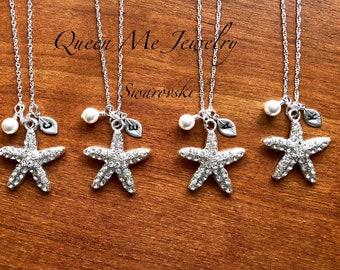 Crystal starfish necklace Swarovski Personalized Hand stamped Initial Destination necklace wedding Beach wedding bridesmaids jewelry