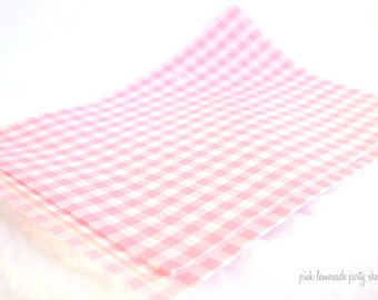 Pink Gingham Wax PaPER-BeRRY BaSKET LiNERS-sandwich-krafts- Birthday Parties, Showers, Weddings-12ct