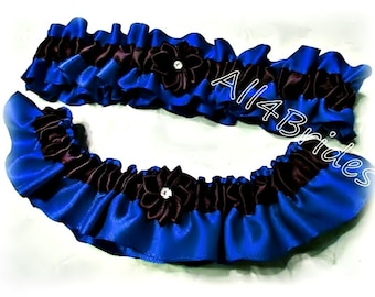 Royal blue and black weddings bridal garter set, thin blue line  keepsake and toss garters.  Prom satin garters.