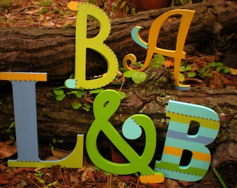 Large Wall Initials - Painted Wall Letters - Name Letters - Family Initials