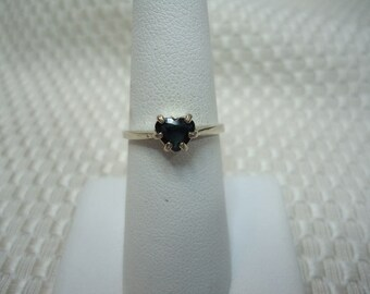 Heart Cut Blue Green Sapphire Ring in Sterling Silver   #1965