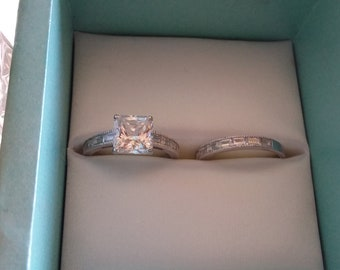 Square Cut CZ sterling silver ring set