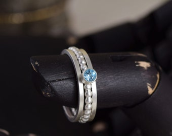 Sterling Silver and Blue Topaz Stacking Rings