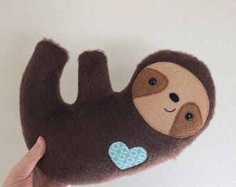 Furry Cuddly Sloth - Mint Geometric Heart - READY TO SHIP