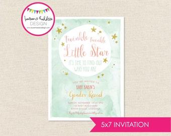Twinkle Twinkle Gender Reveal Invitation, Gender Reveal Invitation, Twinkle Twinkle Little Star, Lauren Haddox Designs