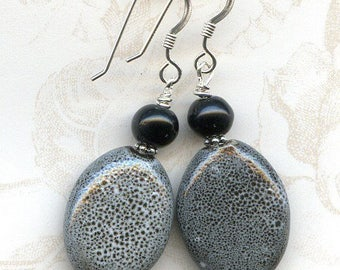 Black and White Oval Sterling Silver Earrings