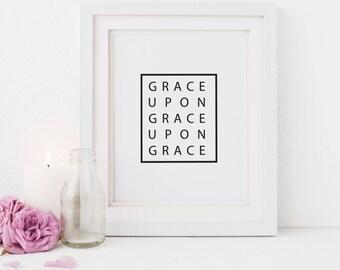 Grace Upon Grace,  Modern Faith Based Print, Illustrated Faith, Easter Print, Gift for men, Nursery Scripture, printable art, Digital File