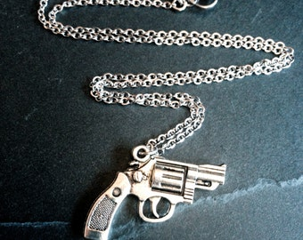 """Silver Hand Gun Pistol Revolver Pendant Necklace on 17"""" Stainless Flat Cable Steel Chain"""