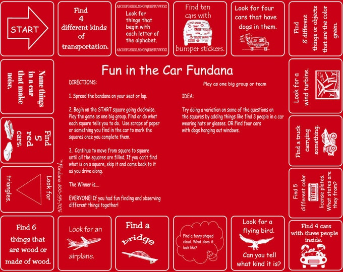 Vacation or a long drive? Take our Fun  in the  Car Fundana! Keep kids occupied and having fun during long or short drives!