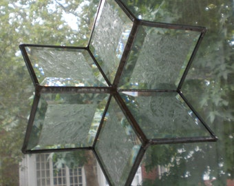 Large 3-D Beveled Glass Star Snowflake Ornament Stained Glass Suncatcher