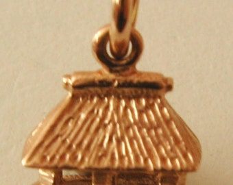 Genuine SOLID 9K 9ct ROSE GOLD 3D Hut House Home charm/pendant