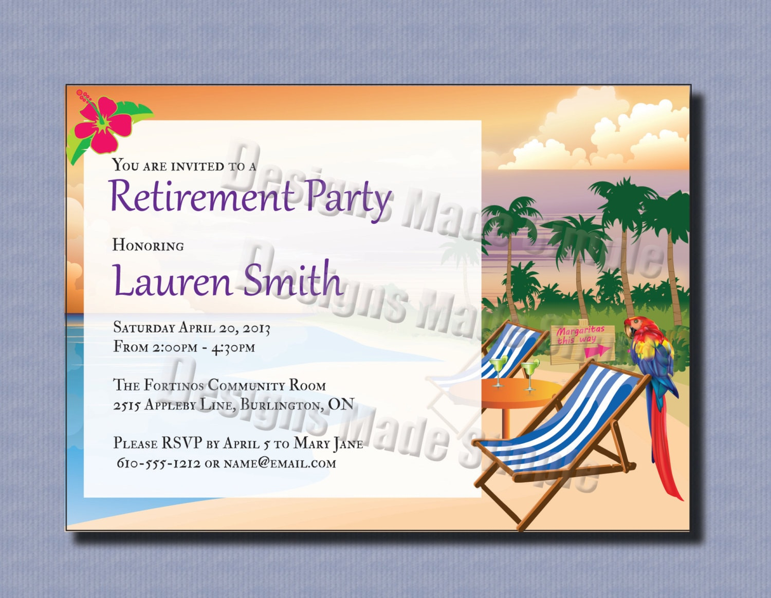 Retirement Party Invitation Beach Themed Custom Printable