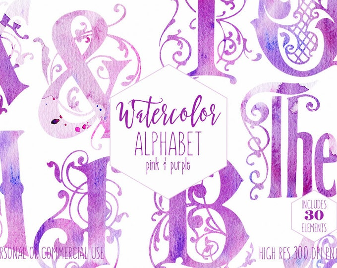 WATERCOLOR MONOGRAM ALPHABET Clipart for Commercial Use Vine Monogram Clip Art Pink & Purple Letters Mermaid Alphabet Digital Graphics Png
