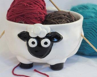 Black and cream (white) ceramic sheep yarn bowl