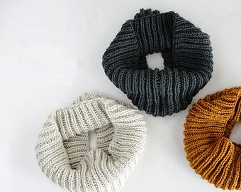Oversize Knit Cowl Infinity Scarf Chunky Cowl Hand Knit Mobius Simple Cowl