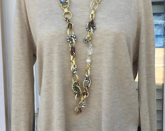 Bib Necklace, Long Linked Necklace,  Crystal pearl necklace, Gift for her, Everyday use, Valentines Gift, Gold and Gray color
