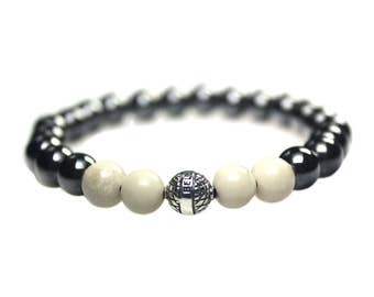 Mens bracelet Luxury B8-Hematite, Fossil and Sterling Silver 496