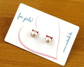 Mädchenschmuck Kinderschmuck Ohrstecker Ohrringe Teufel mit Perle Silber 925