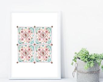Moroccan Tiles Print, Bohemian Print, Wall art Moroccan, Moroccan Wall Print, Bohemian Decor, Moroccan Decor