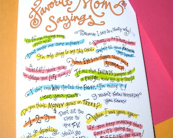 Funny Card for Mom - Mom Birthday - Mothers Day Card - Favorite Mom Sayings