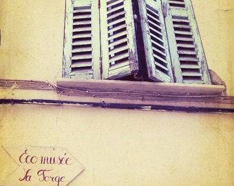 """Provence France - Architecture Art - Mint Green - Yellow Wall Art - Wood Window Shutters - French Writing  """"Eco musee"""""""