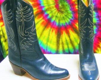 size 6.5 B vintage 80's ladies blue leather SASSON cowboy boots NOS