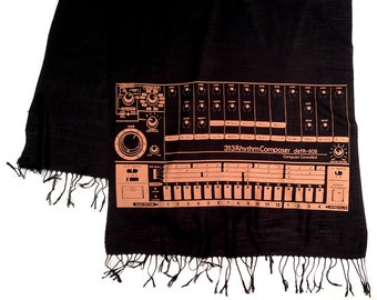 808 Sequencer scarf. Drum machine linen look pashmina. Orange print on black & more. For men or women. Vintage synth history.