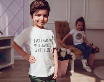 WORK HARD Kids Shirts Kids Tshirt Toddler Shirt Gift For Kids Children Fashion Cats Cat Kid Shirt Kid T-Shirt Boys Top Girl Top Kids Clothes