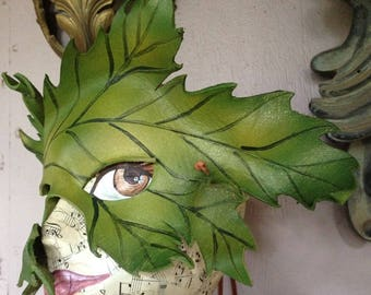 Spring, mother nature costume, bright green leaf leather mask, Spring time Greenman mask