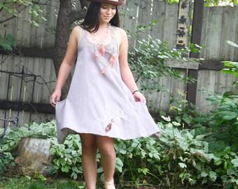 upcycled dress - S - upcycled clothing, slow fashion, racer back trapeze dress . south dakota morning
