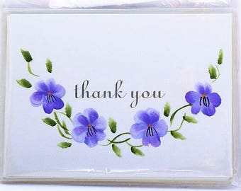 hand painted pansy thank you note cards, set of four with matching envelopes