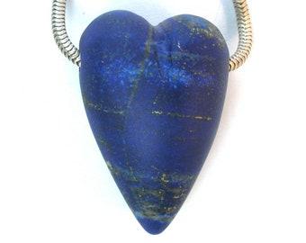 DVH Afghanistan Lapis Lazuli Heart Focal Bead 34x22x16mm (9719)