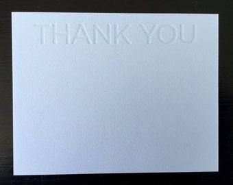 Thank You Blue Tonal Letterpress Notecard Set of 10
